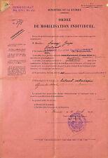 MILITARIA DOCUMENT ORDRE DE MOBILISATION RENNES 1929