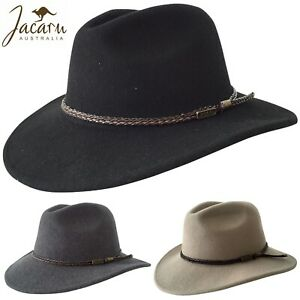 JACARU Australian Wool Fedora Hat Outback 100% WOOL Crushable Travel 1847