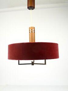 ELEGANT RARE ORIGINAL 60S MID CENTURY TEAK & VELVET CEILING LAMP PENDANT