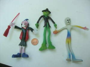 Collectible Set 3 Halloween Toys Bendy Bend Em's Witch w Broom Mummy Scarecrow!