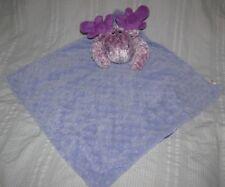 WISHPETS Jeni The Moose PURPLE Minky Dot and Satin Security Blanket Lovey