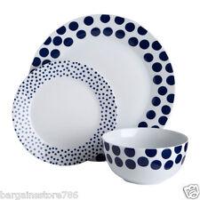 12 Piece Dinner Service Set Procelain Blue Spots Design Plates Cup Bowl