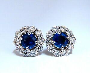 3.37ct Natural Sapphire Diamonds Cluster Earrings 14 Karat gold
