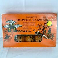 Vintage Halloween Pumpkin String Lights Blow Molds 10 Light Set Jack o Lanterns