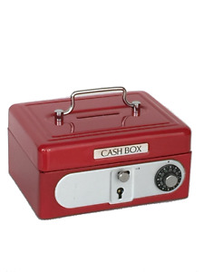 Red Kids Mini Metal Cash box Safe coin box Treasure lock box Piggy bank SS986R