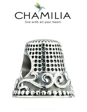 Genuine CHAMILIA 925 sterling silver THIMBLE charm bead, sewing, dress making