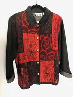 Keren Hart womens long sleeve denim jacket embellished Large red/dark blue NWT