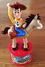 1999 WOODY ROUNDUP PUSH PUPPET AND BULLSEYE TOY STORY 2 CANDY DISPENSER