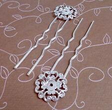 10 unidades-Tono Plata Pin de Pelo Cabello Clip,, tenedor de pelo con filigrana