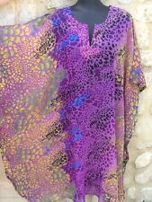 tunique kaftan caftan robe plage piscine violet bleu noir jaune Neuf M L XL XXL
