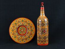 Folk Art Hand Painted Wood Plate & Bottle Geometric Design