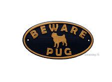 Pug & Motif Beware Of The Dog Sign - House Garden Plaque - Black/Gold