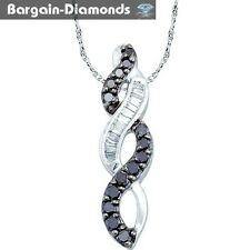 black diamond 14K white gold pendant infinity life journey weave .34 carats wife