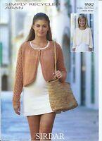 Sirdar Woman's and Girls Bolero's in Aran, Knitting Pattern 9582