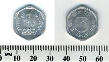 India 1968 (C) - 3 Paise Aluminum Coin - Asoka lion pedestal - 6-sided