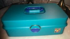 Vintage Caboodles Train Case Teal 2710 Travel Organizer Jewelry Makeup 80s