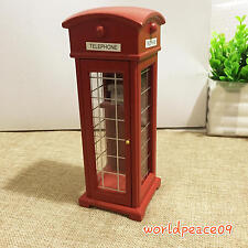 Dollhouse Miniature Red Old-Fashioned Public Telephone Booth 1:12 Scale Model
