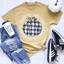 Plaid Pumpkin, Thankful, Grateful and Blessed Women's Graphic Tee S - 2X T-Shirt