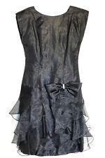 RIMINI Vintage Size 8 BLACK COCKTAIL DRESS w/Rhinstone Detailed BOW