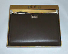 Pelletini 15cm French Clutch Purse Outside Zipper Genuine leather Dark Brown
