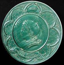H Mercier hommage à Jeanne d'Arc Assiette en barbotine Joan of Arc 28,5 cm