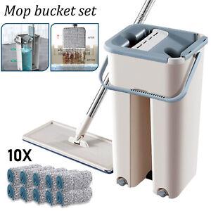 360° Flat Squeeze Microfiber Mop & Bucket Set +2 Pads Home Floor Tiles Cleaning