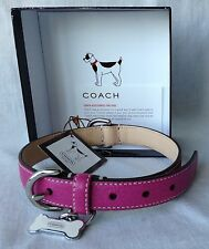 Coach Leather Dog Collar Pink With Bone Charm New w/Box Up To 45 Lb Dog 60145