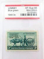 .US STAMP #981 1949 3c BLUE GREEN PSE GRADED XF-SUP 95 MINT OGnh