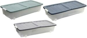 Under Bed Storage Box Large Storage Box Clear Stackable With Lid Wheels