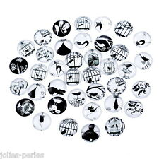 JP 10PCs Bird Cage Mixed Glass Embellishments Cabochons Findings Phone 12mm