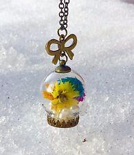 Elegant Holiday Inspired Flowery Terrarium Pendant Necklace