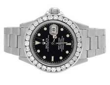 Mens Rolex Submariner 40MM 16610 Stainless Steel Black Dial Diamond Watch 5.0 Ct