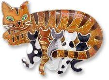 Kitty Cat Pin, Zarah, Momma Cat & Kittens, Sterling Silver, Artisan, Cat Fancier
