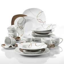 30-Pieces Porcelain Dinner Set Tableware Soup Plate Cup Saucer Great Gift