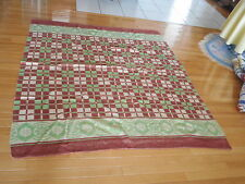 Small Western Camp Blanket Green Brown Cream Check Design Geometric (Ahi