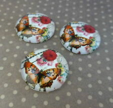 10 pcs Glass Cabochon with  Butterfly 16mm