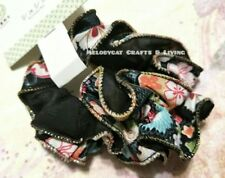 Japanese Two Layers Lace Chiffon Scrunchy Hair Ties Pastel Flowers Mix BLACK