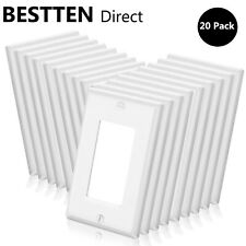 20Pk Bestten Decor Wall Plate Single 1-Gang for Gfci Outlet Cover Switch White