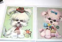 Two Framed Colonial Studios Puppy Prints from 1970