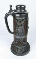 St. Louis Silver Co. Tankard Stein Dragon Serpents Oak Wood Silver Plated Lidded