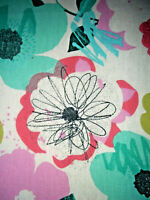 Vintage huge floral abstract fabric hippie flowers cotton remnant 78""