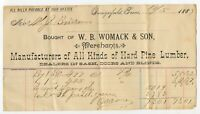 1887 Billhead Invoice - Morris County Daingerfield Texas TX - W.B. Womack Lumber