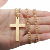 Tiny Small Stainless Steel Cross Necklace Christian Men Children Boy Kid Gift