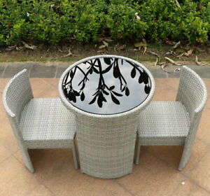 Rattan Garden Furniture Dining Table and Chairs 3Pc Dove Grey 2 Seat Set 2pc/3pc