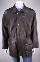 Loro Piana Brown Pebble Grain Leather w/ Cashmere Lining Coat Jacket Mens~ Large