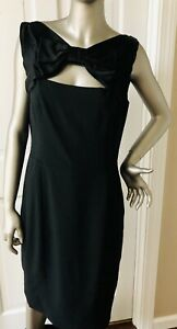 MOSCHINO CHEAP AND CHIC Black Keyhole Bow-Accented Mini Dress SZ 46 12