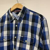 "Tommy Hilfiger Mens Shirt Long Sleeve Check Blue Trim Fit P2P 23"" L Large"