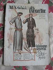 Catalogue été 1922 Galeries Lafayette Grands Magasins Paris mode Femme costume