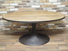 INDUSTRIAL RUSTIC RECLAIMED WOOD METAL OVAL DINING KITCHEN TABLE (DX4495)
