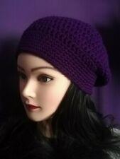 Women's ladies beret slouch slouchy hat crochet hand knit accessories purple